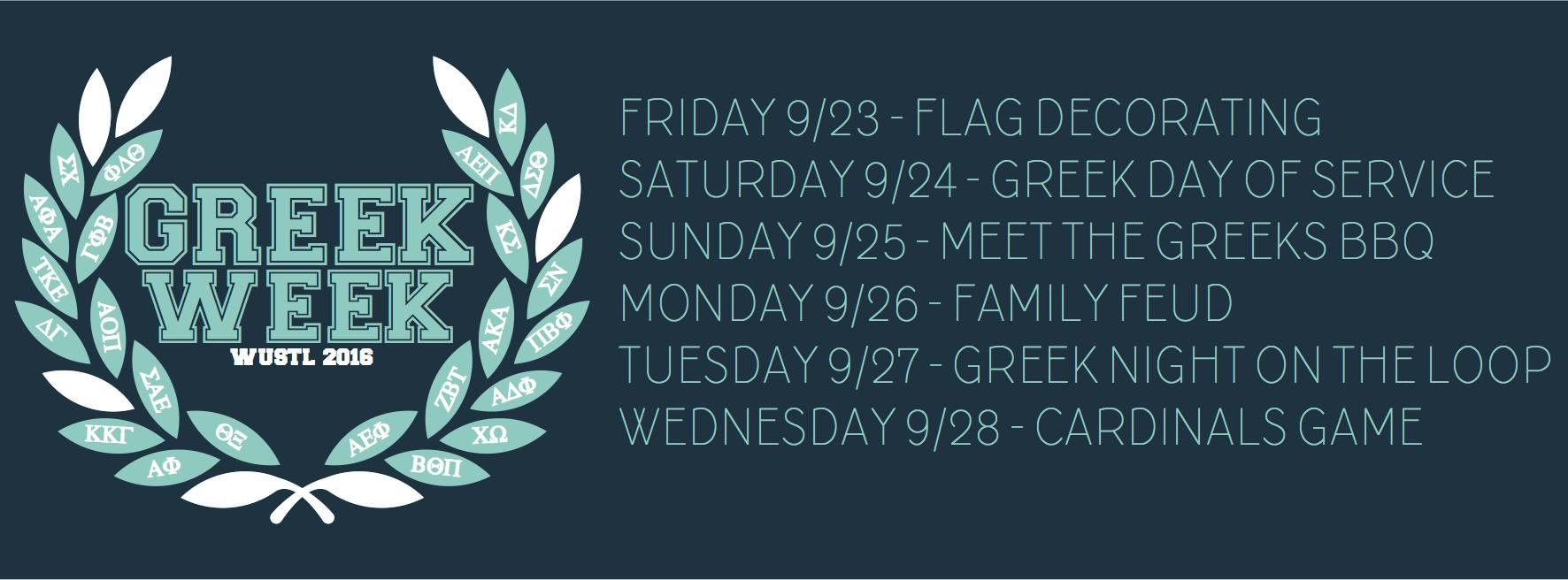 Greek Week 2016 Schedule